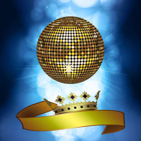 blue ball: Gold Disco Ball with Banner and Crown on Blue Glowing