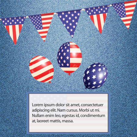 sample text: American Bunting Balloons and Flag with Sample Text on Denim Background Illustration