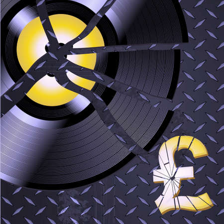 pound symbol: Broken Record and Broken Pound Symbol over Metallic Diamond Plate Background Illustration