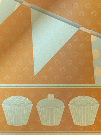 brown paper: Cupcakes and Bunting on Vintage Blue over Decorated Brown Paper Illustration