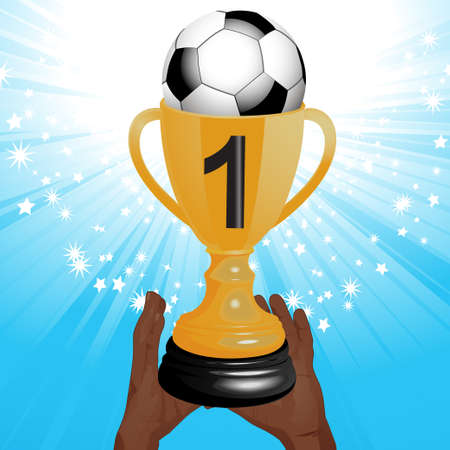 football trophy: Football Trophy in Man Hands with Ball and Number One over a Blue Sparkling Background