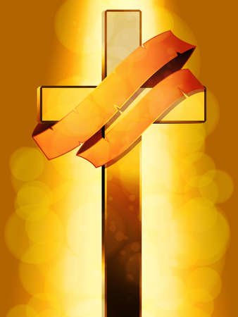 gold cross: Gold Cross with Aged Banner on Golden Glowing Background