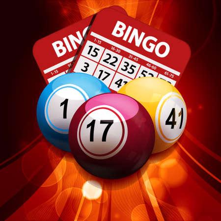 bingo: Bolas del bingo y bingo tarjetas sobre un fondo de oro que brilla intensamente Vectores