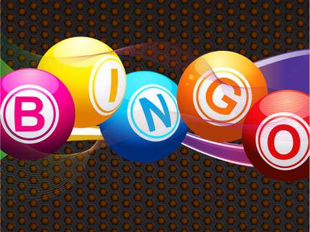 bingo: Bingo Balls over a Metallic Background with Waves