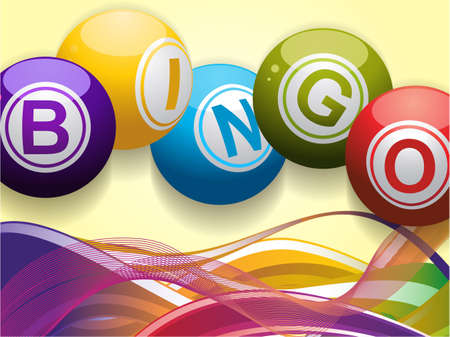 Bingo Balls and Colored Waves Background