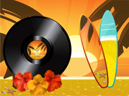 tropical sunset: Summer Tropical Sunset Background with Vinyl Hibiscus and Surfing Board Illustration
