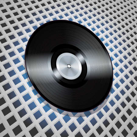 lattice: Vinyl Record with Metallic Centre Flying over Lattice Pattern Background