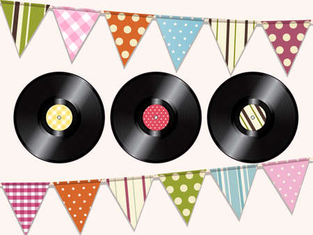 vinyl records: Vintage Vinyl Records Background with Bunting Illustration