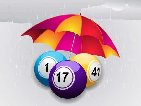 raining background: Bingo Balls and Umbrella over Grey Raining Background
