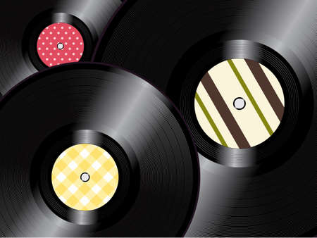 on records: Vinyl Records with Vintage Inner Label Background