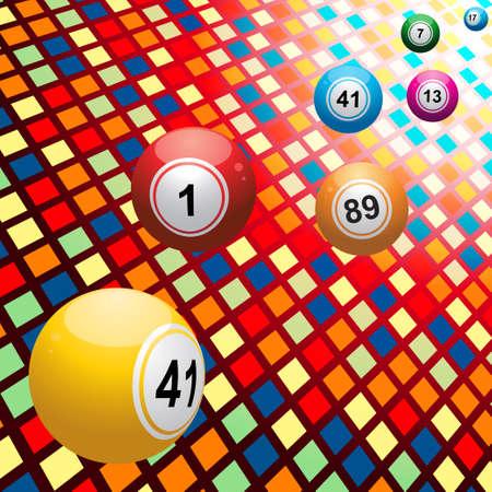 Bingo Balls over 3D Multicolor Mosaic Background