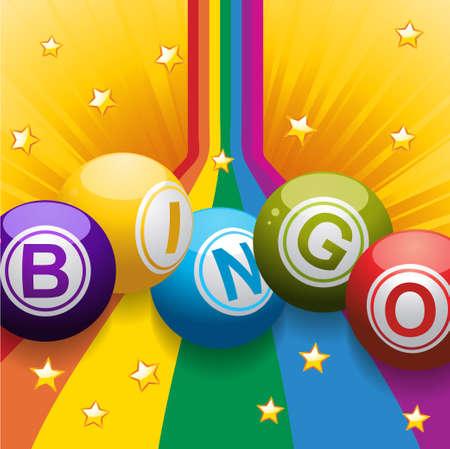 red ball: Bingo Balls on Rainbow over Yellow Bursting Background