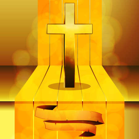 gold cross: Gold Cross on 3D Step wit Golden Stripes