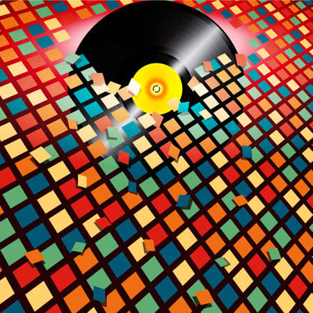 record breaking: Vinyl Record Breaking a Multicolor Wall Tiles Background