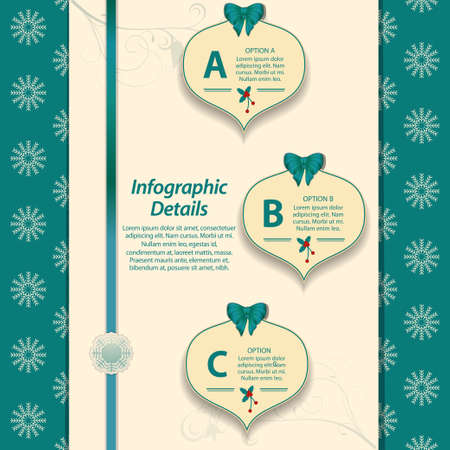 sample text: Christmas Infographic with Ribbon Bow and Sample Text