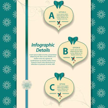 sample text: Infograf�a de Navidad con arco de la cinta y texto de la muestra