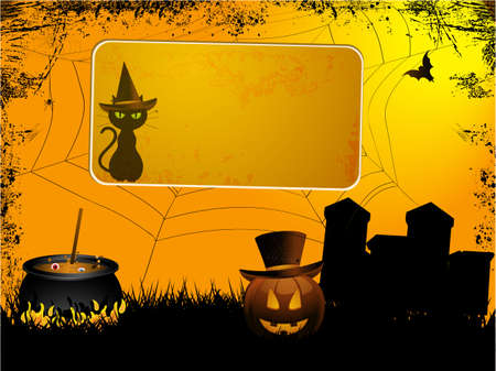 glowing carved: Halloween Landscape Spooky Background with Sign and Cat with Hat