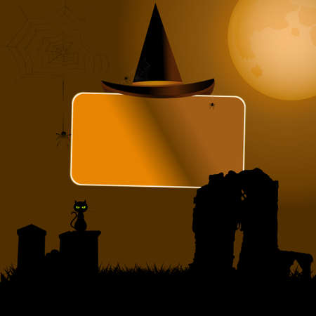 glowing carved: Halloween Sign Label with Hat Over Spooky Background with Moon Cat and Tombstone Illustration