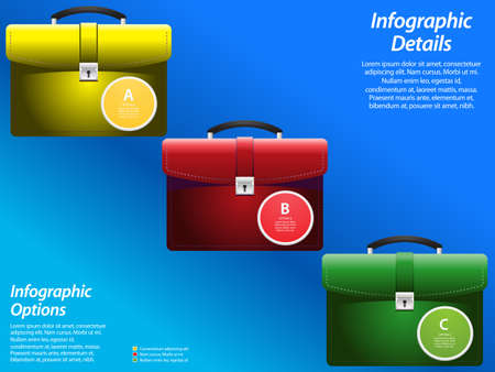 sample text: Infographic with Colored Briefcases and Sample Text Over Blue Background