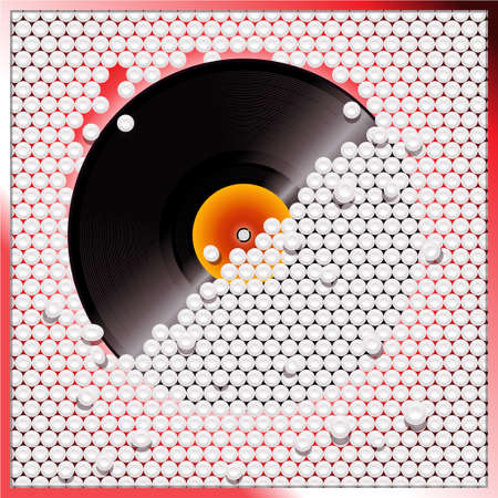 Vinyl Record Breaking a White 3D Buttons Wall Illustration