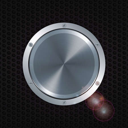 metallic button: 3D Metallic Button with Screws Over a Honeycomb Metal Glowing Background