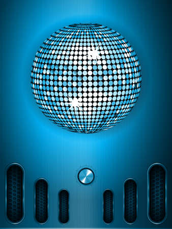 blue metallic background: Disco Ball and Dial Over Blue Brushed Metallic Panel Portrait Background Illustration