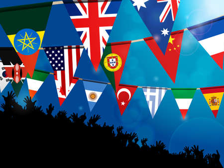 flags of the world: World Bunting Flags Over Glowing Blue Background with Crowd
