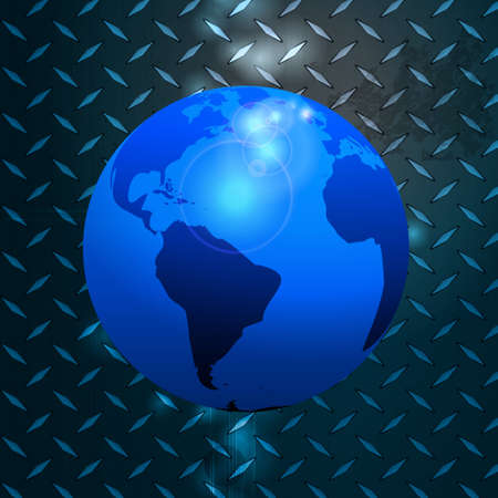 diamond plate: World Globe Over Glowing Blue Metallic Diamond Plate Illustration
