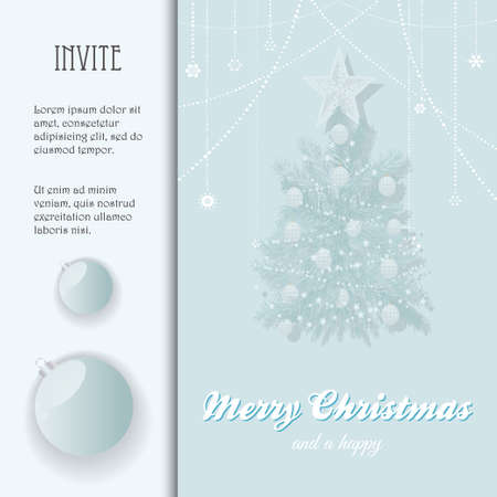 Christmas Invite with Sample Text Tree Decorations and Baubles