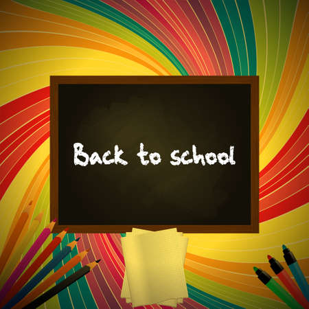 returning: Back to School Background with Blackboard Pencil and Paper Sheet Over Vintage Multicolor Swirl