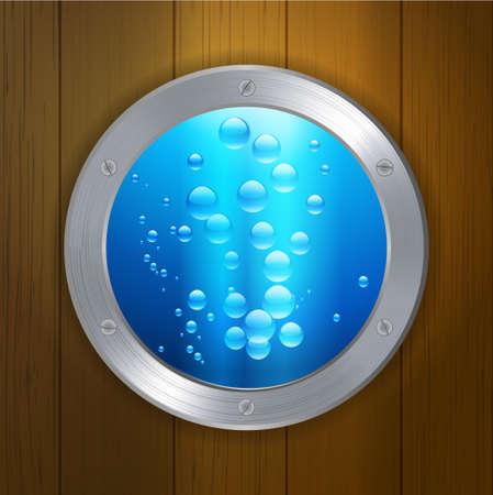 porthole window: Porthole Window with Blue Water and Bubbles Over Wood Background