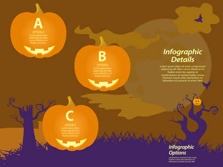 spooky tree: Halloween Infographic with Pumpkins and Spooky Tree Background Illustration