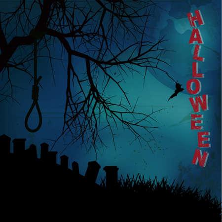 ahorcado: Fondo de Halloween con el árbol verdugo Soga Texto y Cementerio Vectores