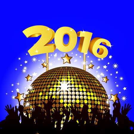 new year party: 2016 New Year Party Background with Disco Ball and Crowd Illustration