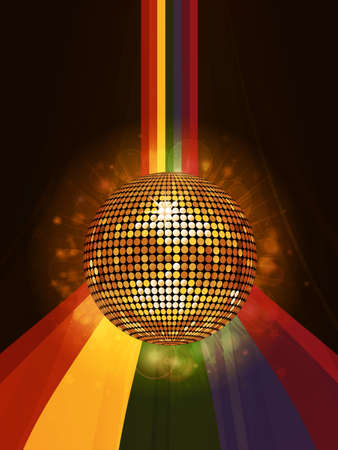 3d  ball: Glowing Golden Disco Ball Over Rainbow Background