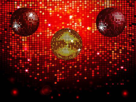 disco ball: Three Disco Balls Over a Red Tiles Sparkling Wall Background