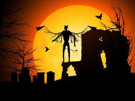 red devil: Halloween Background with Devil Bats and Moon Illustration