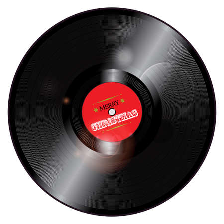 glowing lights: 3D Christmas Record Vinyl with Glowing Lights Illustration