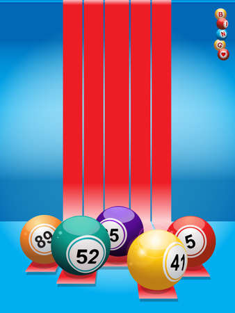 ball game: Bingo Balls Over Red Stripes and Blue Background