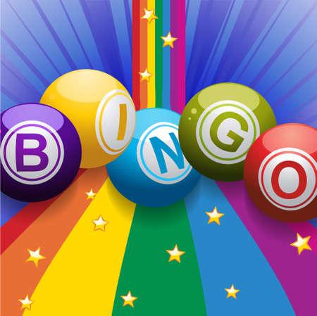Bingo Balls Over Rainbow with Stars and Blue Background
