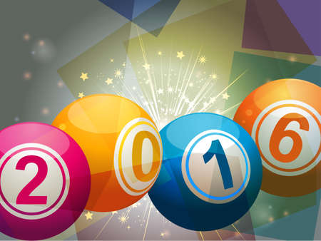 numbers clipart: 2016 Bingo Lottery Balls on Starburst and Glowing Background