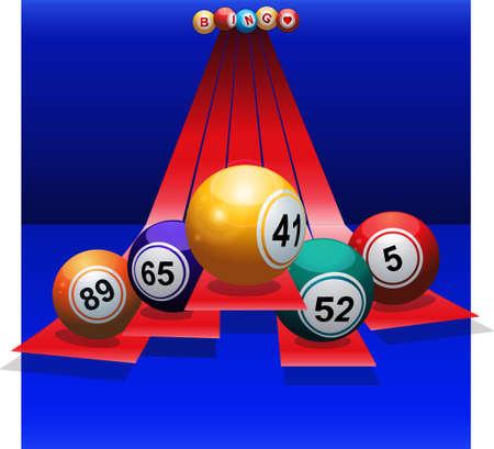 blue sphere: Bingo Balls Over 3D Red Stripes on Blue Background Illustration