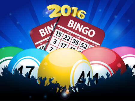 bingo: Bingo Balls Cards and Crowd 2016 Over Blue Background