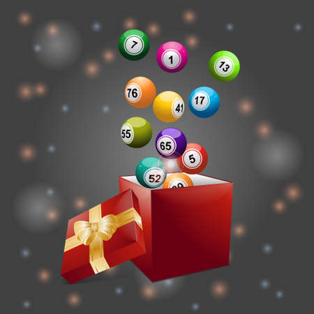 3D Bingo Balls Coming Out From Red Gift Box with Ribbon and Bow Over festive Background