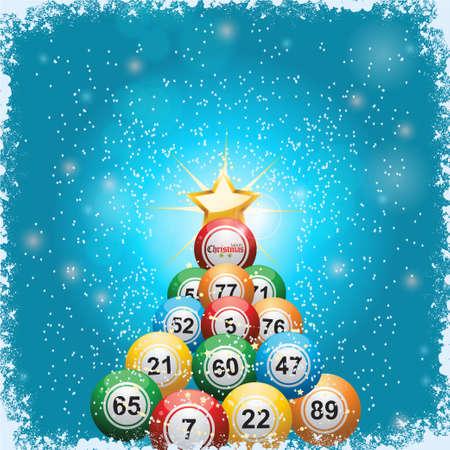 Bingo-Lotterie-Bälle Weihnachtsbaum und Stern auf blauem Hintergrund mit Schnee