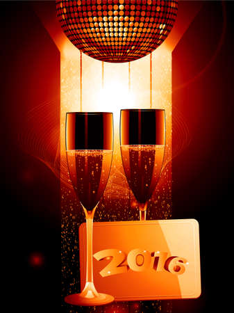 champagne celebration: 2016 Celebration Background with Champagne Glasses Disco Ball and Gold Message Tag