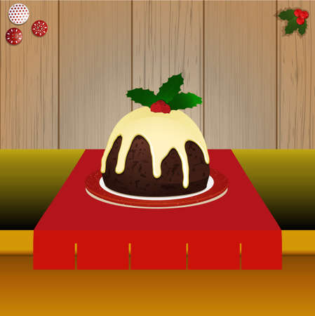 tabletop: Christmas Pudding with Holly on Tabletop Over Wooden Background