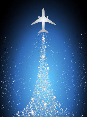 releasing: Aircraft Silhouette Flying Over Blue Sky and Releasing Silver Stars Forming Christmas Tree