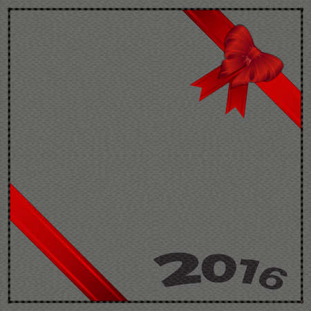 leather background: Gray Leather Background with 2016 Text Ribbons and Bow Illustration