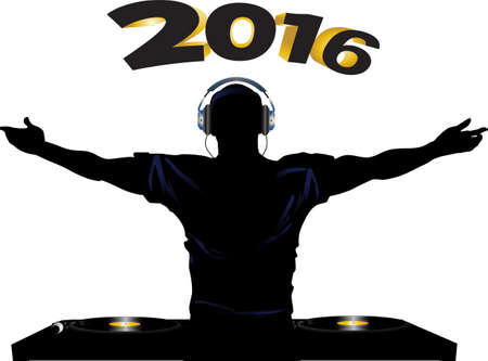 decks: DJ Silhouette with Headphones Record Decks and 2016 in Bold Numbers Background